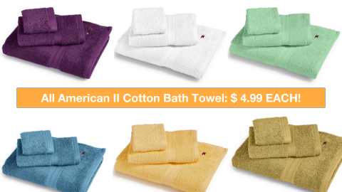 MACYS – Tommy Hilfiger All American II Cotton Bath Towel $4.99 Each